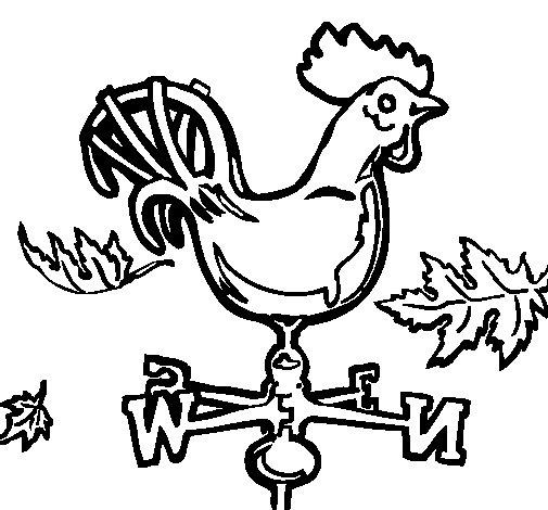 Coloriage de Girouettes et coq pour Colorier