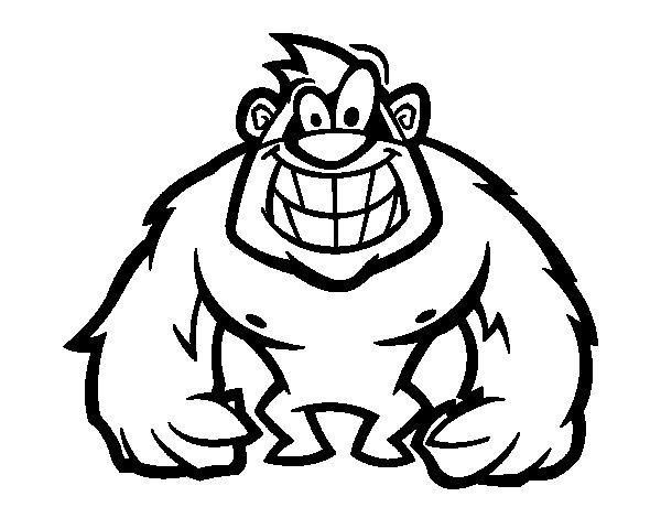 Coloriage de Gorille poilue pour Colorier