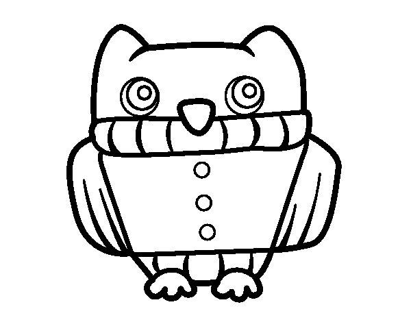 Coloriage de Hibou avec un maillot pour Colorier