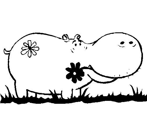 Coloriage de Hippopotame avec des fleurs pour Colorier