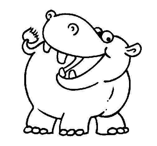 Coloriage de Hippopotame pour Colorier
