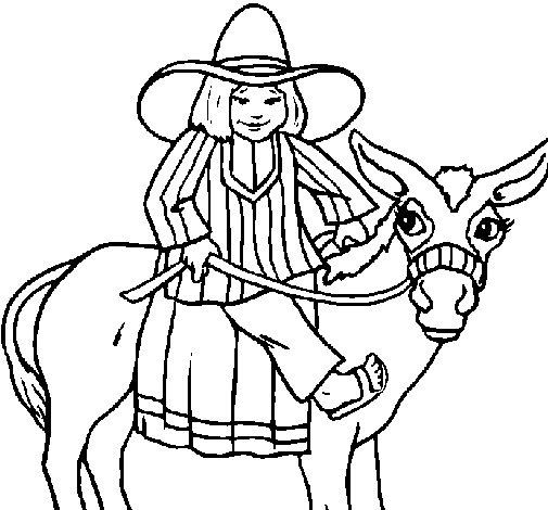 Coloriage de Indien monté sur un âne pour Colorier