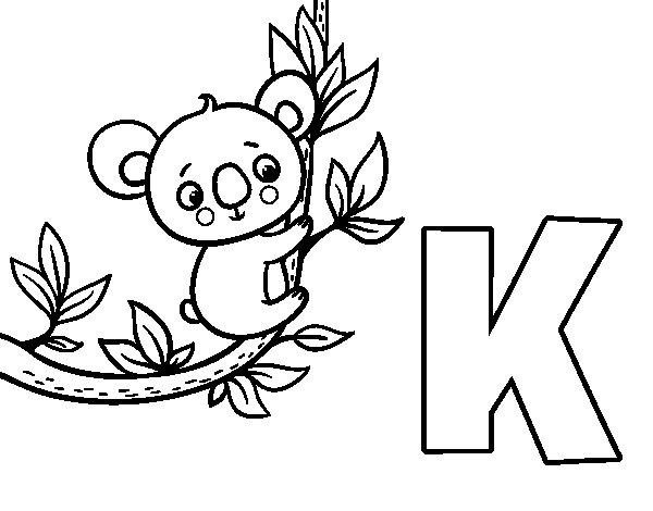 Coloriage de K de Koala pour Colorier