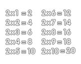 <span class='hidden-xs'>Coloriage de </span>La table de multiplication du 2 à colorier