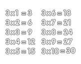 <span class='hidden-xs'>Coloriage de </span>La table de multiplication du 3 à colorier
