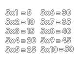 <span class='hidden-xs'>Coloriage de </span>La table de multiplication du 5 à colorier