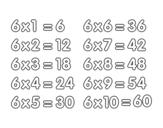 <span class='hidden-xs'>Coloriage de </span>La table de multiplication du 6 à colorier