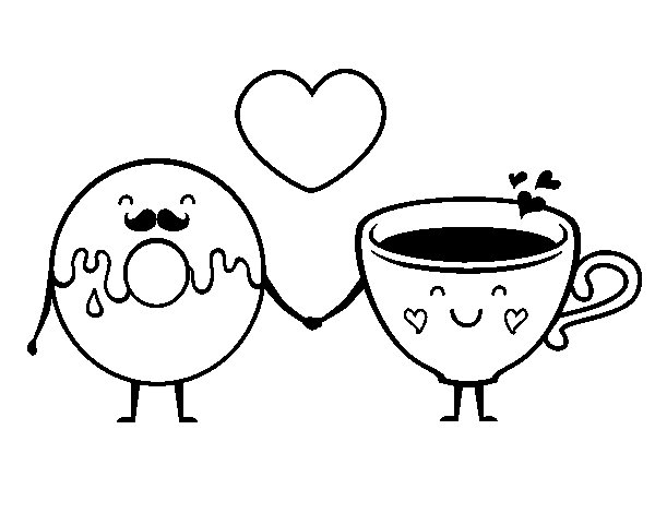 Coloriage de l 39 amour entre donut et le th pour colorier - Dessin de l amour ...