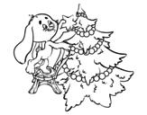 Dibujo de Lapin décoration de arbre de Noël