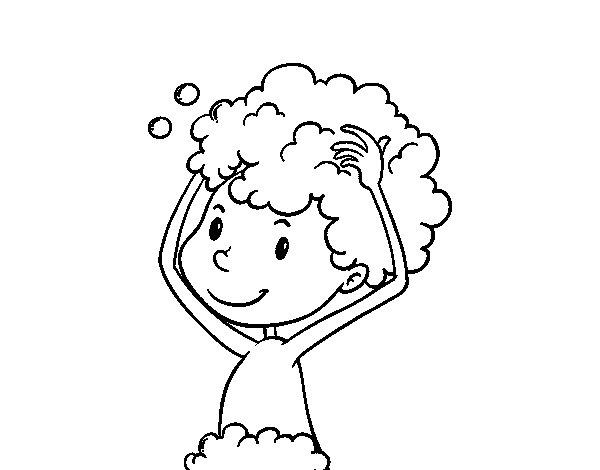Coloriage de le lavage des cheveux pour colorier - Coloriage lavage des mains ...