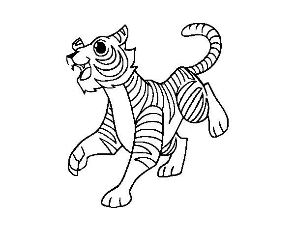 Coloriage de Le tigre du Bengale pour Colorier