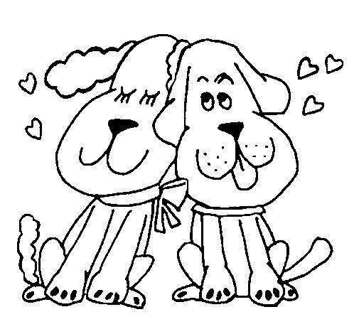 Coloriage de Les chiens aiment pour Colorier