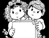Dibujo de Les enfants avec un livre
