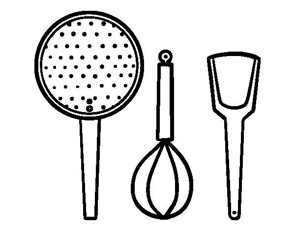 Coloriage de les ustensiles de cuisine pour colorier for Ustensile cuisine en ligne