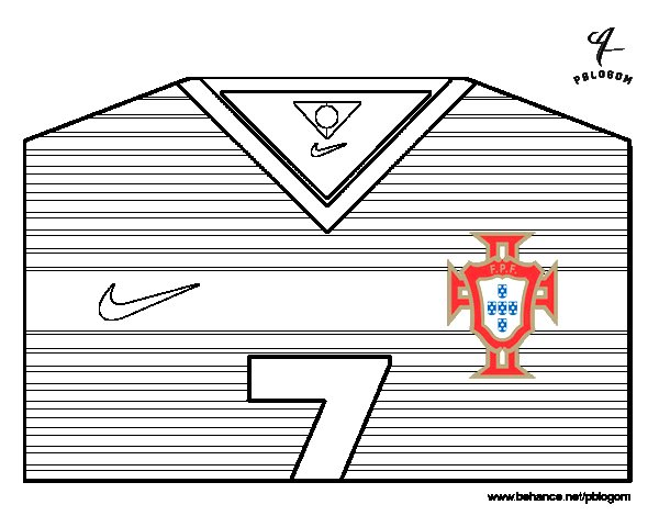 Coloriage de maillot de la coupe du monde 2014 le portugal - Dessin portugal ...