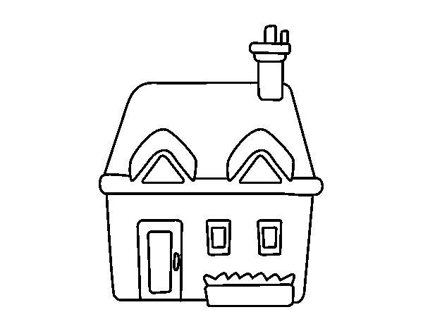 Coloriage de maison avec chemin e pour colorier for Image maison dessin