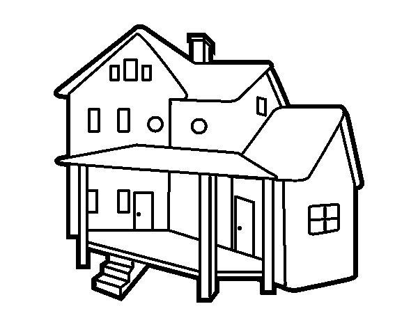 Coloriage de maison avec porche pour colorier for Image maison dessin