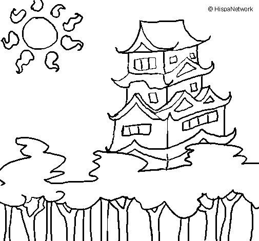 Maison Japonaise Dessin : coloriage de maison japonaise pour colorier ~ Melissatoandfro.com Idées de Décoration