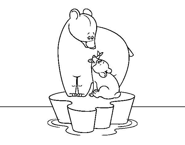 Coloriage de Mama ours avec son fils pour Colorier