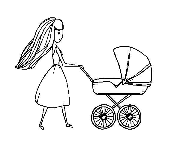 Coloriage de maman avec poussette pour colorier - Poussette dessin ...
