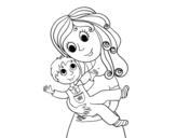 <span class='hidden-xs'>Coloriage de </span>Maman avec son fils à colorier