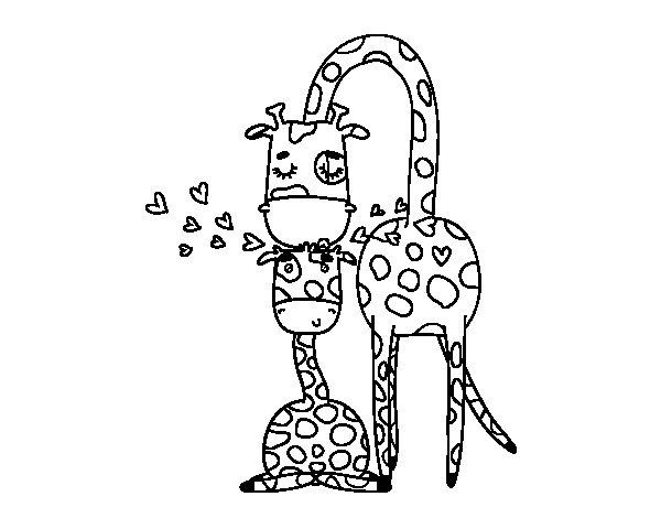 Coloriage de Maman girafe pour Colorier