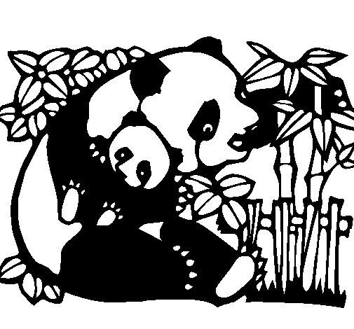 Coloriage de maman panda pour colorier - Coloriage petit panda ...