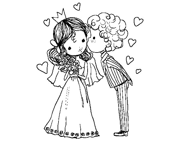 Coloriage de mariage de prince et la princesse pour colorier - Prince et princesse dessin ...