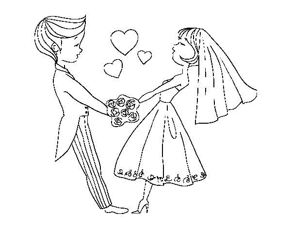 Coloriage de mari et dans l 39 amour pour colorier - Coloriage maries ...