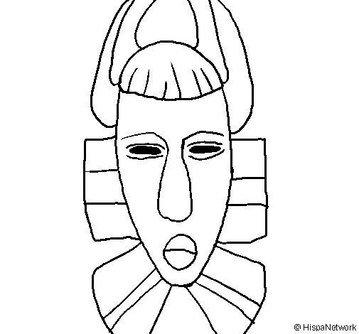 Coloriage de masque africain pour colorier - Dessin africain a colorier ...