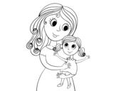 <span class='hidden-xs'>Coloriage de </span>Mère avec sa fille à colorier
