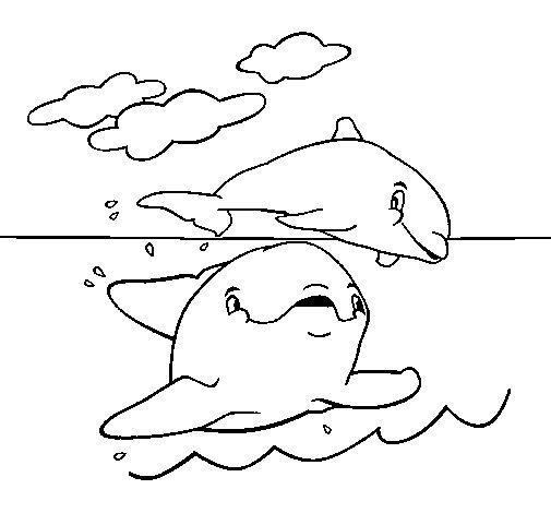 Coloriage de Mère et l'Enfant Dolphin pour Colorier