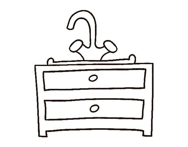 coloriage de meuble lavabo pour colorier. Black Bedroom Furniture Sets. Home Design Ideas