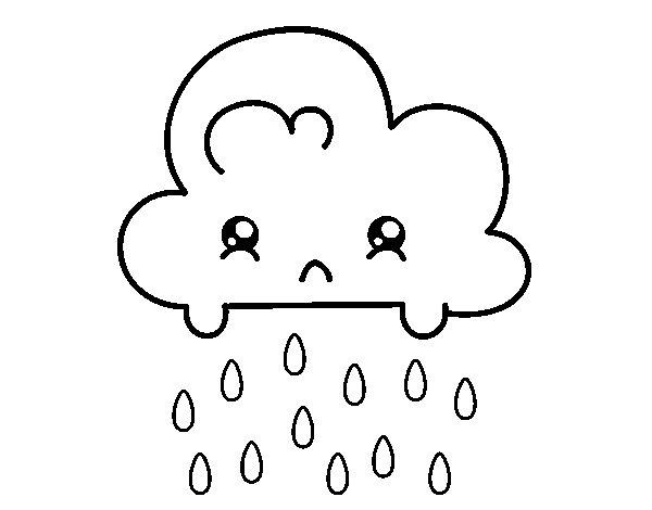 Coloriage de nuage kawaii pour colorier - Nuage en dessin ...