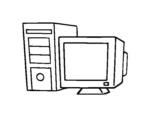 Coloriage de ordinateur ancien pour colorier - Ordinateur coloriage ...