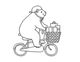 <span class='hidden-xs'>Coloriage de </span>Ours cycliste à colorier