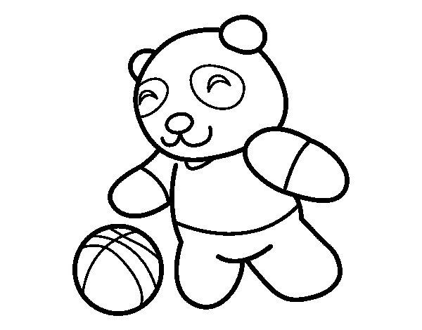 Coloriage de panda avec ballon pour colorier - Panda pour coloriage ...