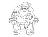 <span class='hidden-xs'>Coloriage de </span>Père Noël et enfant de Noël à colorier