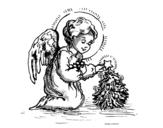 <span class='hidden-xs'>Coloriage de </span>Petit ange de Noël à colorier
