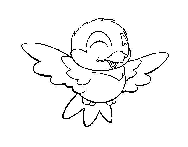 Coloriage de petit oiseau sympathique pour colorier - Coloriage de oiseau ...
