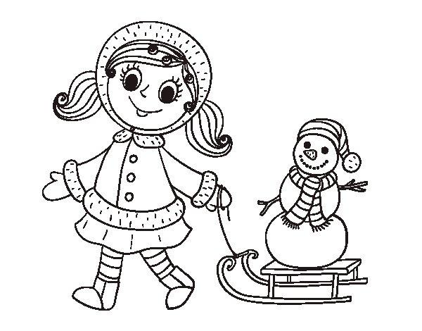 Coloriage de petite fille avec tra neau et bonhomme de neige pour colorier - Bonhomme fille ...