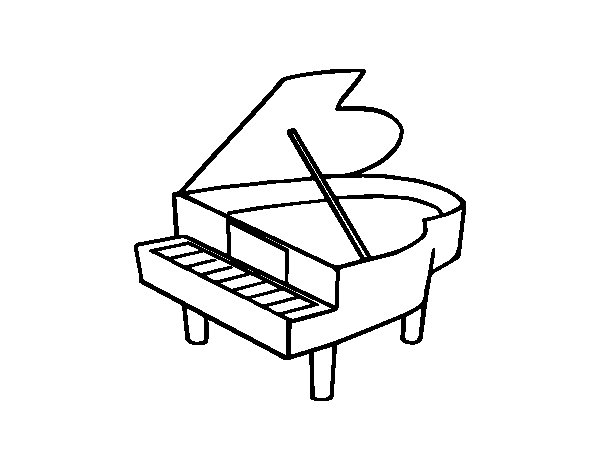 Coloriage de piano queue ouvert pour colorier - Coloriage piano ...
