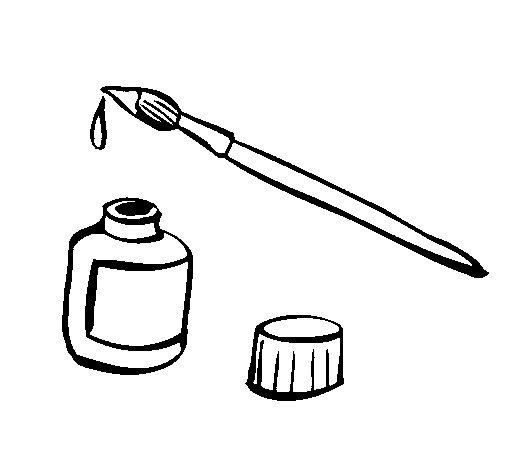 Coloriage de pinceau et encre pour colorier for Ecole de dessin bayonne