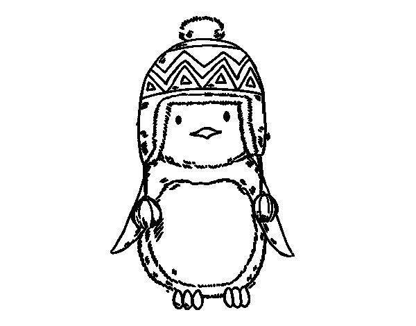 Coloriage de pingouin b b avec chapeau pour colorier - Dessin pinguoin ...