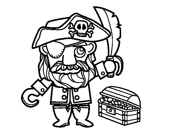 Coloriage de pirate avec tr sor pour colorier - Coloriage tresor ...