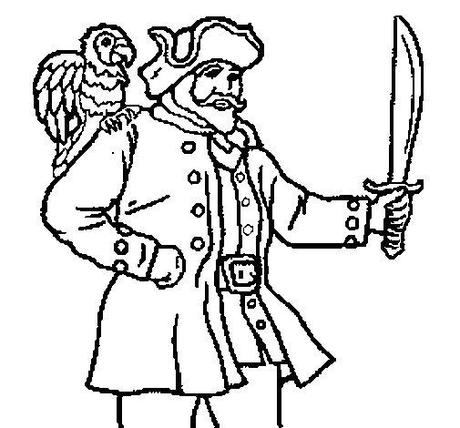 Coloriage de Pirate avec un perroquet pour Colorier