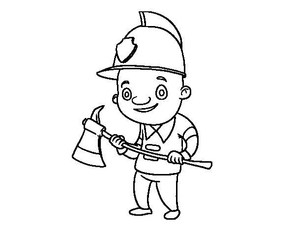 Coloriage de pompier professionnel pour colorier - Coloriage professionnel ...