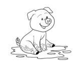 <span class='hidden-xs'>Coloriage de </span>Porco na lama à colorier