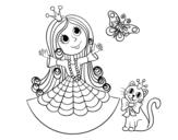 Dibujo de  Princesse avec le chat et le papillon