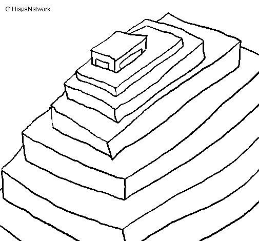 Coloriage de pyramide maya pour colorier - Dessin de pyramide ...
